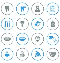Set of dental icons isolated grey and blue vector