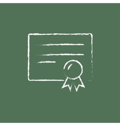 Certificate icon drawn in chalk vector