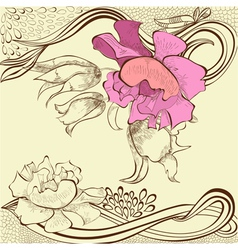 Template for decorative floral card vector
