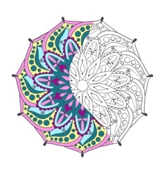 Zentangle stylized elegant color indian mandala vector