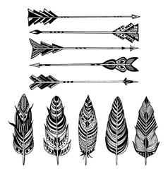 Set of arrows and feathers on white background vector