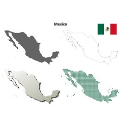 Mexico outline map set vector