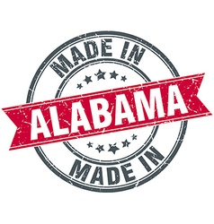 Made in alabama red round vintage stamp vector