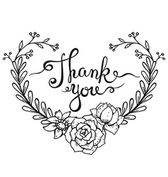 Hand lettering words Thank you with floral wreath vector image