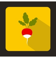 Fresh radish with leaves icon in flat style vector