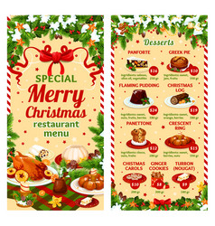 Christmas dinner restaurant dessert menu vector