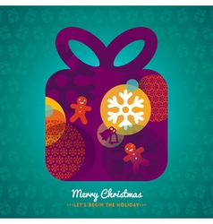 Christmas Gift Box with lettering on background vector image vector image