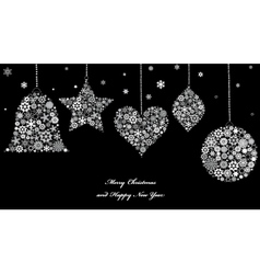 Christmas ornaments from snowflakes vector
