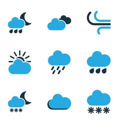 climate colored icons set collection of rainstorm vector image