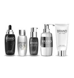 Collection of White Bottle Template for Ads or vector image
