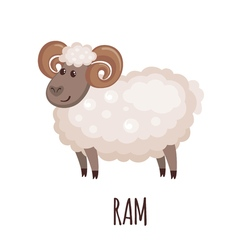 Cute ram in flat style vector