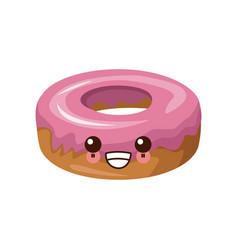 delicious donut dessert cute kawaii cartoon vector image vector image