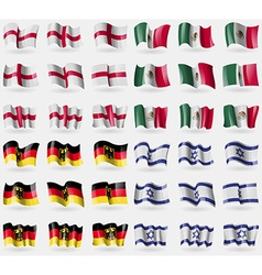 England mexico germany israel set of 36 flags of vector