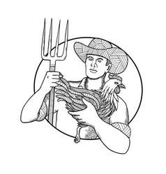 Farmer holding hen pitchfork zentagle vector