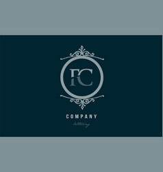 Fc f c blue decorative monogram alphabet letter vector