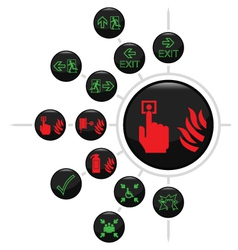 Fire escape button set vector