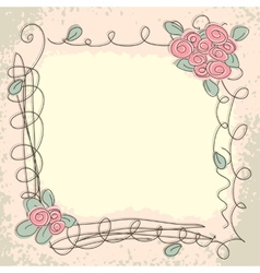 Greeting card with decorative floral elements vector image