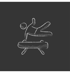 Gymnast exercising on pommel horse drawn in chalk vector
