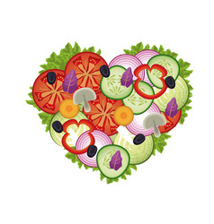 heart salad vegetables health image vector image vector image