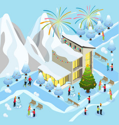 isometric christmas celebration concept vector image vector image