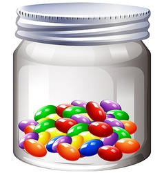 Jar of colorful candy vector