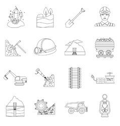 Mine set icons in outline style big collection of vector