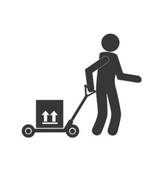 Monochrome pictogram of man and hand truck and vector