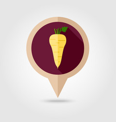 Parsnip root flat pin map icon vegetable vector