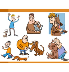 people with pets cartoon set vector image