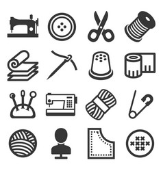 sewing icons set on white background vector image