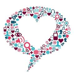 social media heart bubble vector image