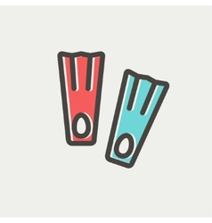 Swimming flippers thin line icon vector image vector image