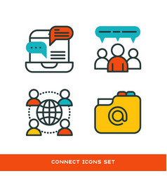 thin lines connection icons outline set of big vector image vector image