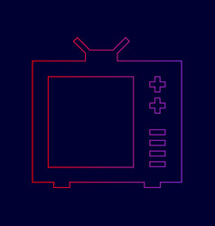 Tv sign line icon with vector