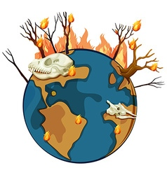 Wildfire on planet earth vector