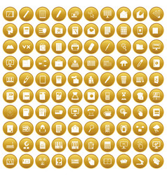 100 folder icons set gold vector