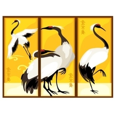 Triptych in eastern style with bird vector