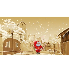 Cartoon santa claus with gift bag walks vector