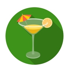 Lemon cocktail icon in flat style isolated on vector image