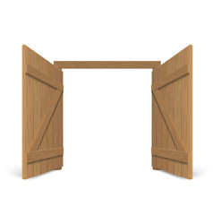 Old wooden massive opened gate vector