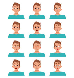 Male facial expressions set vector