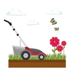 Lawn mower isolated icon vector
