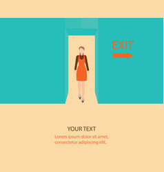 Business woman walk through a door with exit sign vector