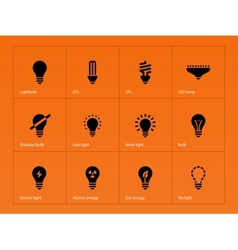 Light bulb lamp icons on orange background vector image