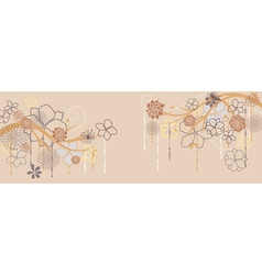 Panorama with branches and flowers vector