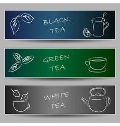 Tea chalky doodles on banners vector image