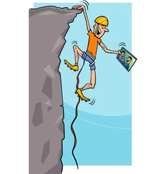 Climber with tablet cartoon vector