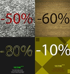 60 80 10 icon set of percent discount on abstract vector