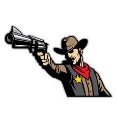 Cowboy aiming the gun vector