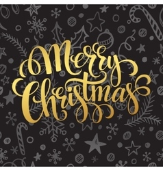 Gold merry christmas lettering in chalk seamless vector
